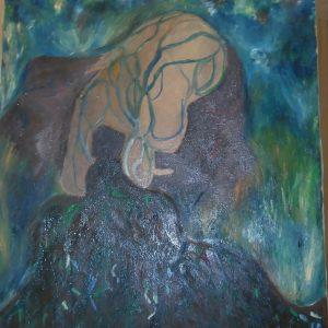 Il Coefficiente artistico di Francesca Calzoni, in arte Fedra - Teogonia di Esiodo: Le quattro essenze - Olio polittico - 40x35cm
