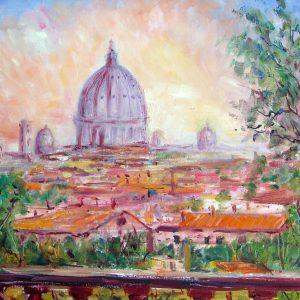 Promozione dell'artista Silvana Guerrieri - Tramonto romano - 50x40cm - Olio su tela