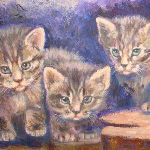 Tre dolci gattini tigrati - 40x30cm - Olio su tela, pennello e spatola