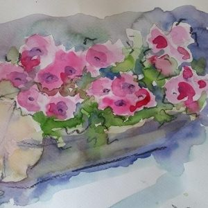Tronco fiorito, 40x30 cm acquerello