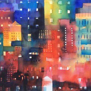 Promozione Artisti - Urban landscape 8 Shadows and lights - Acquerello - 54x34cm