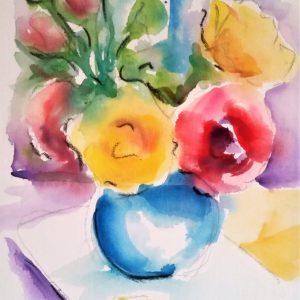Vaso con rose - Acquerello su carta - 30x40cm