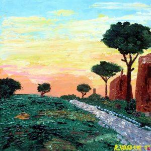 Via Appia a Roma - Acrilico a spatola su legno - 36x36cm
