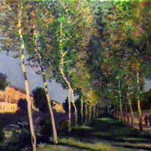 Viale di pioppi nei dintorni di Moret sur Loing - Olio su tela - 35x25cm