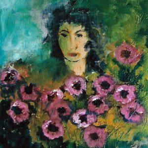 Volto di donna tra i fiori - Olio su tela di lino - 38x46cm