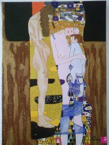 """Rappresentazione dell'intera opera di Gustav Klimt """"le tre età della donna"""" realizzata dal pittore contemporaneo Luca Antonio Vittone."""