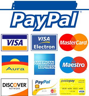 Si accettano pagamenti con PayPal o con carta di credito senza account PayPal