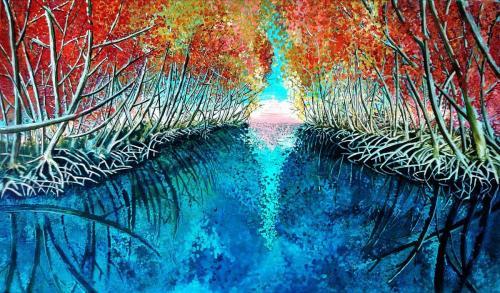 Giulio Guidotti - Viaggio verso l'Eden - acrilico e penna su tela - 120x70 cm - quotazione € 1.200