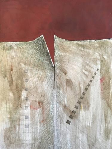 Stefano Catalini - Studio per muro 1 - tecnica mista su legno - 100x72 cm - anno 2019 - quotazione € 2.000