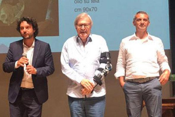 Nino Argentati (PitturiAmo), Vittorio Sgarbi e Sandro Serradifalco (Effetto Arte) al Primo Premio Internazionale Arte Milano.