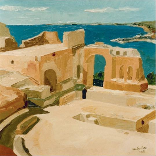 Quadro ad olio con spatola del Teatro Greco di Taormina