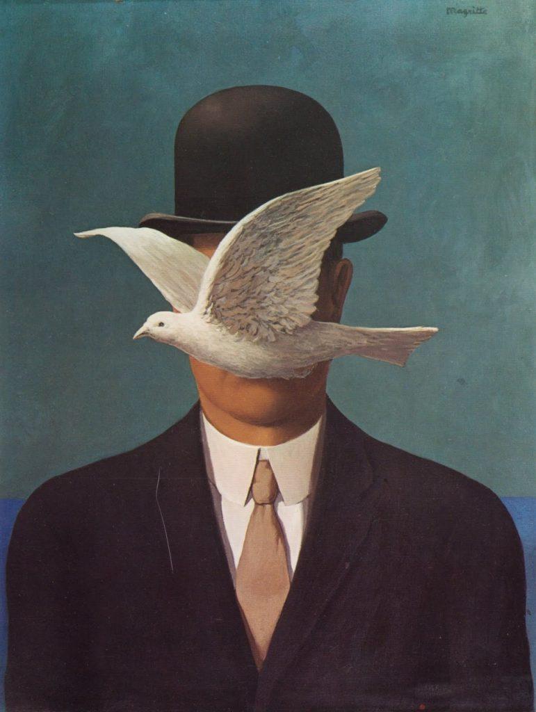 Surrealismo, quadro di R. Magritte, L'uomo con la bombetta