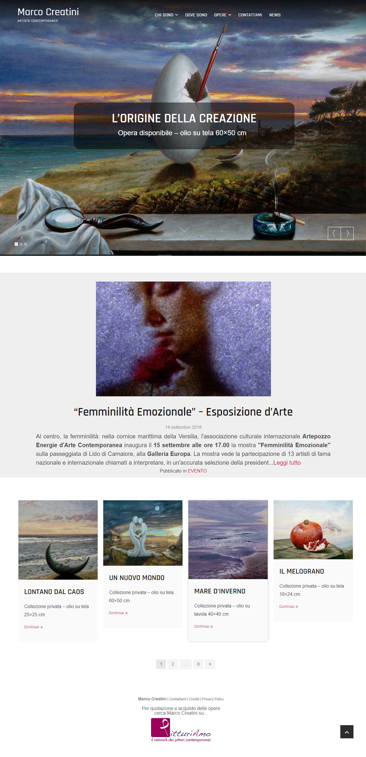 HomePage del sito d'arte personale di Marco Creatini