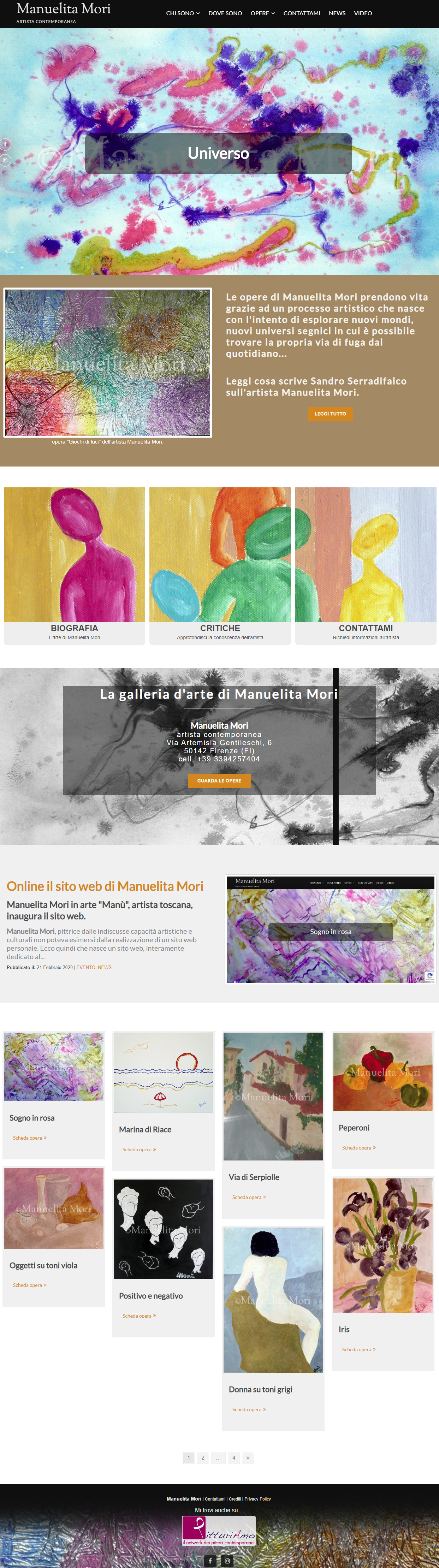 Il sito d'arte personale di Manuelita Mori - Homepage