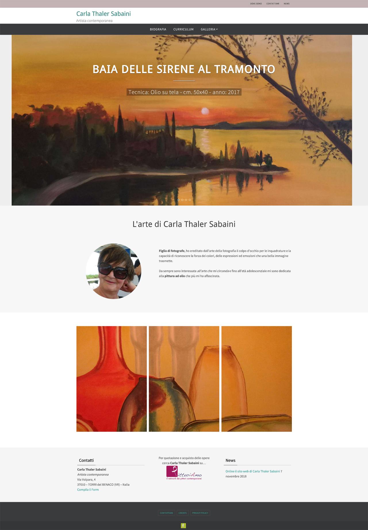 Il sito web dell'artista Carla Thaler Sabaini - Pagina principale