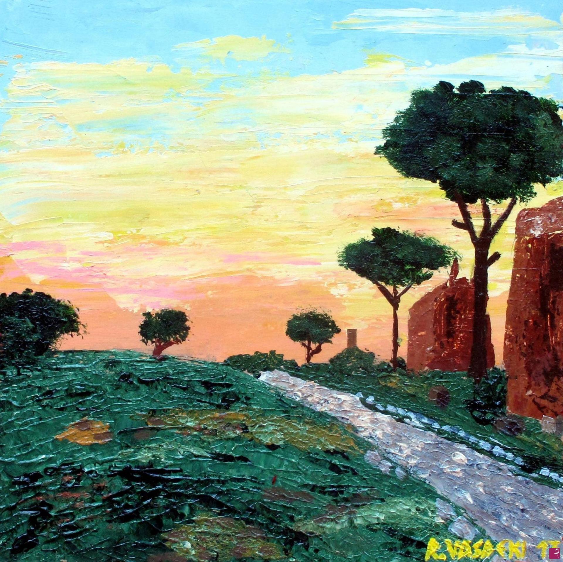 Riccardo Vasdeki - Via Appia a Roma - Acrilico a spatola su legno - 36x36cm